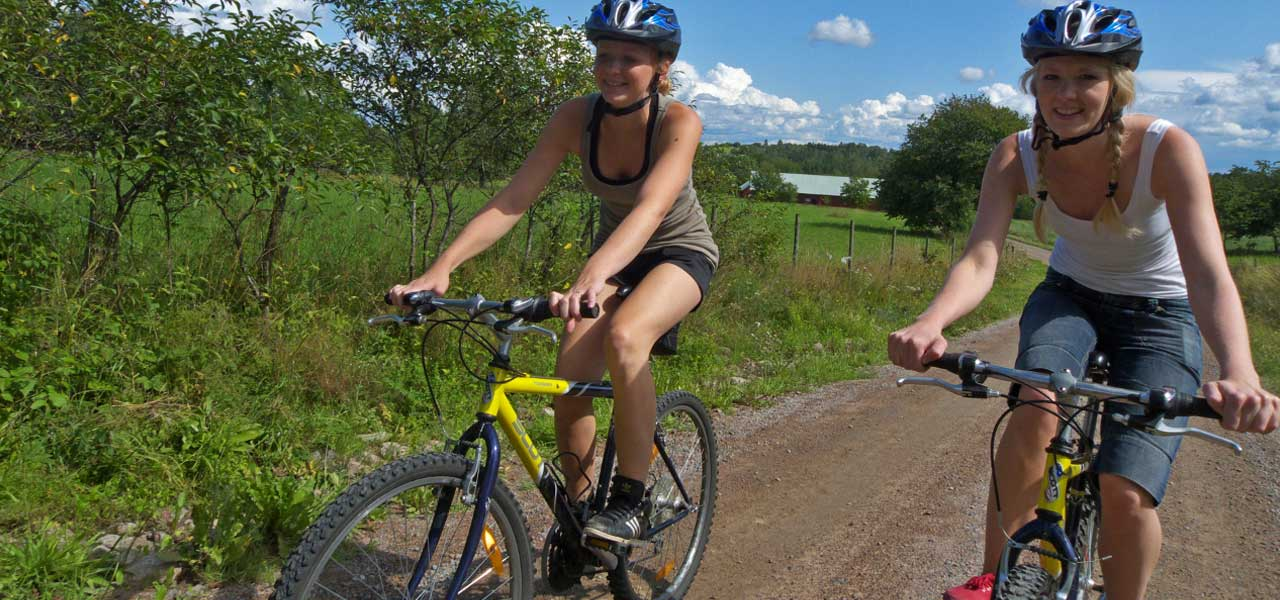 Girls on mountain bikes on a country road